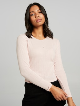 Lace Trim Pointelle Long Sleeve Tee