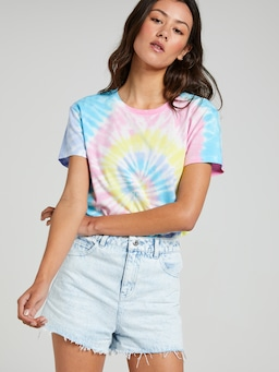 Bye Embroidered Swirl Standard Tee