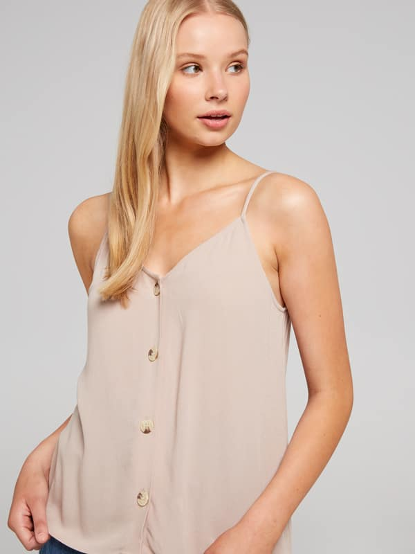 Button Up V Neck Cami | Tuggl