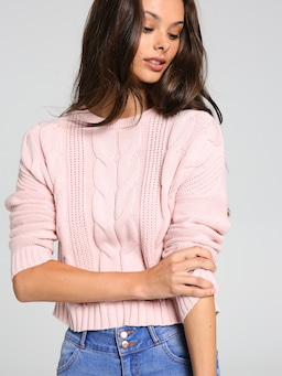 Evie Cropped Cable Knit Jumper