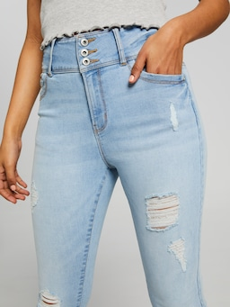 Emilee 3 Button High Rise Rip Jeans