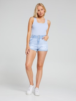 3 Button High Rise Shorts With Rips