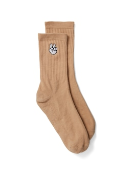 Embroidered Ribbed Socks