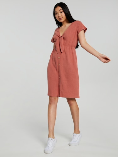 Tie Front Button Midi Dress